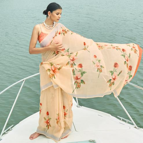 Marvellous Light Orange Colored Party Wear Floral Printed Linen Saree