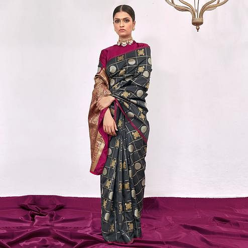 Classy Grey Colored Festive Wear Woven Silk Saree
