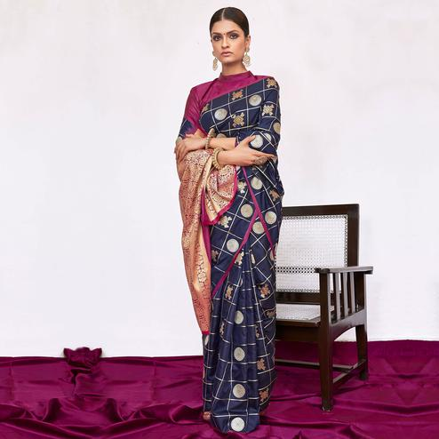 Appealing Navy Blue Colored Festive Wear Woven Silk Saree