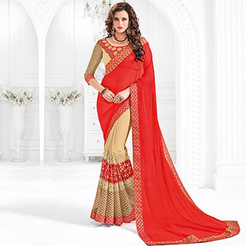 Red And Beige Colored Designer Embroidered Marble Chiffon Saree