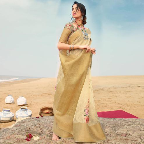 Hypnotic Yellow Colored Festive Wear Digital Floral Printed Linen Saree