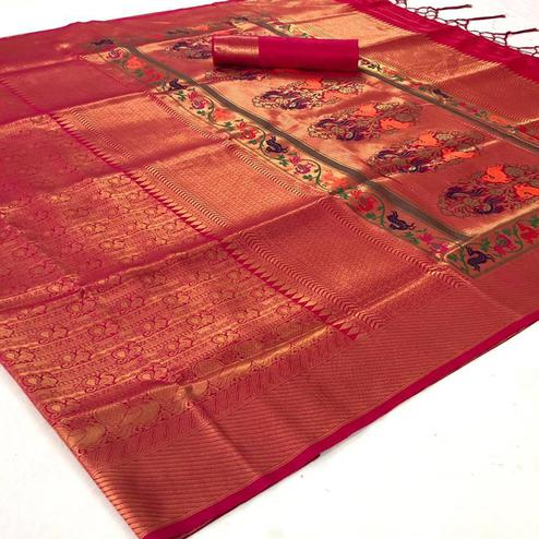 Unique Peach Colored Festive Wear Woven Pure Soft Silk Saree