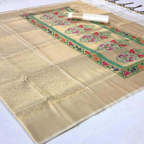 Demanding Cream Colored Festive Wear Woven Pure Soft Silk Saree