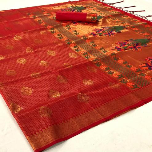 Refreshing Orange Colored Festive Wear Woven Pure Soft Silk Saree