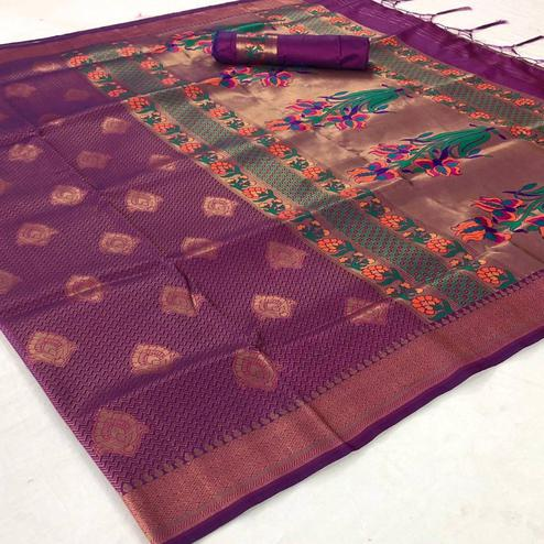 Magnetic Purple Colored Festive Wear Woven Pure Soft Silk Saree