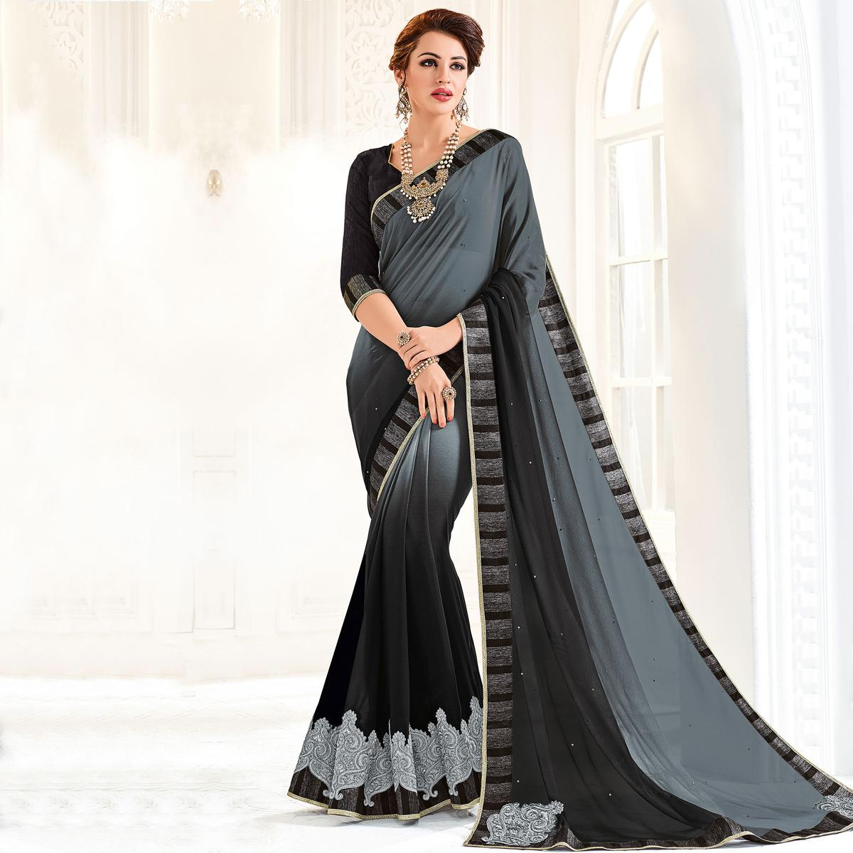 Grey And Black Colored Designer Embroidered Georgette Saree
