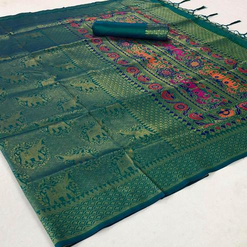 Hypnotic Turquoise Green Colored Festive Wear Woven Pure Soft Silk Saree