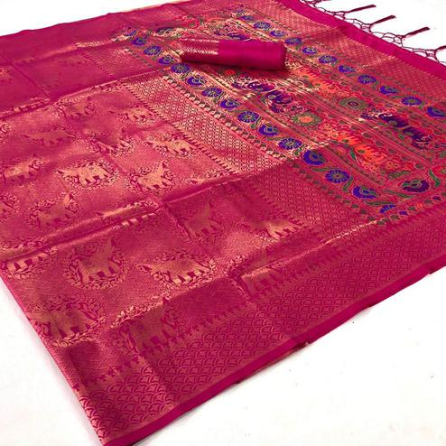 Flattering Pink Colored Festive Wear Woven Pure Soft Silk Saree
