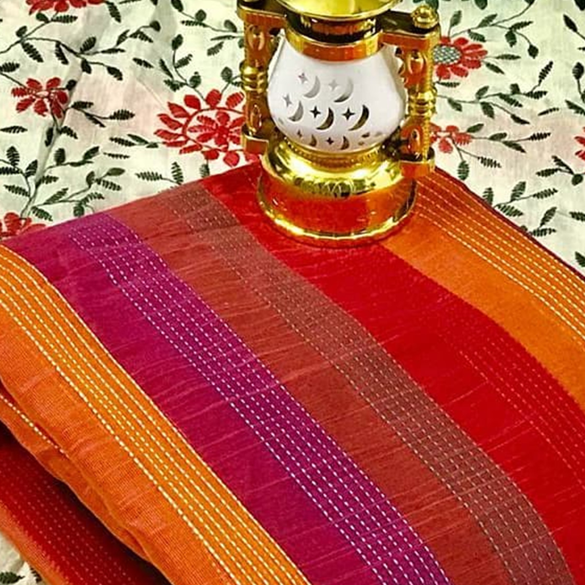 Prominent Orange - Multi Colored Partywear Embroidered Cotton Dress Material