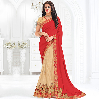 Red And Beige Colored Designer Embroidered Georgette And Lycra Saree