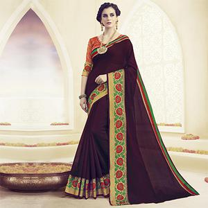 Wine Floral Embroidered Work Polyster Cotton Saree