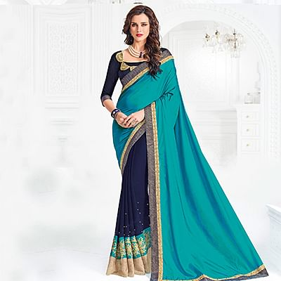 Cyan And Violet Colored Designer Embroidered Silk And Georgette Saree