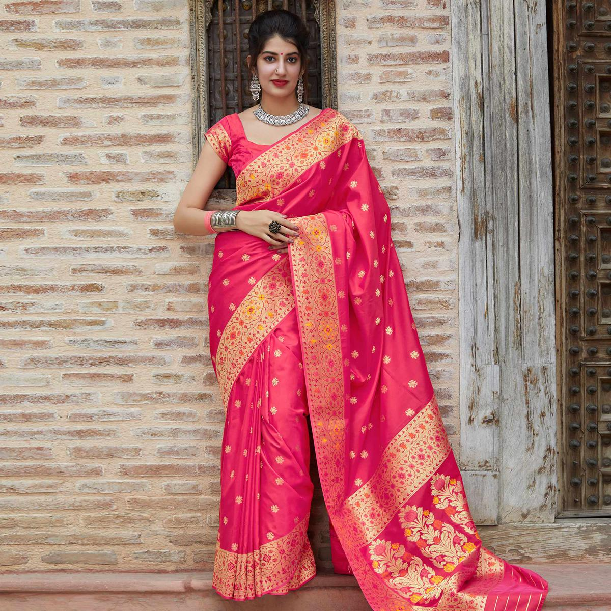 Radiant Pink Colored Festive Wear Woven Soft Silk Saree