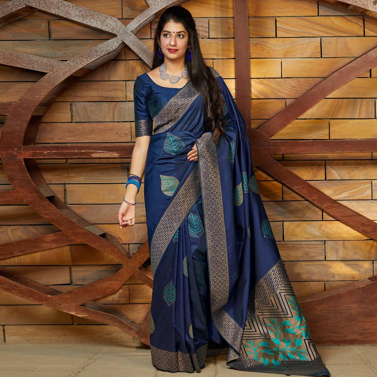 Excellent Navy Blue Colored Festive Wear Woven Soft Silk Saree