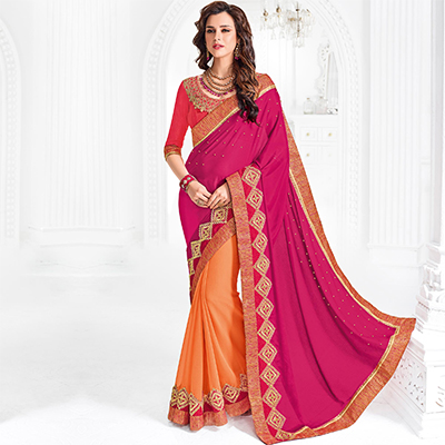 Pink And Orange Colored Designer Embroidered Chiffon And Marble Saree
