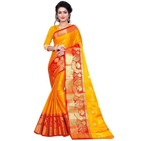 Baarbij - Yellow Colored Festive Wear peacock woven border Cotton Silk Saree