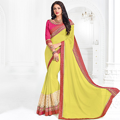 Yellow Colored Designer Embroidered Georgette Saree