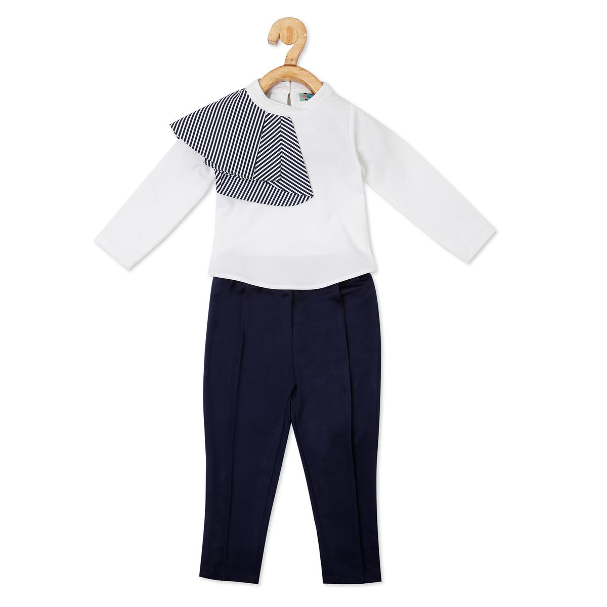 Powderfly - Girl White Georgette Solid Top and Pant Set