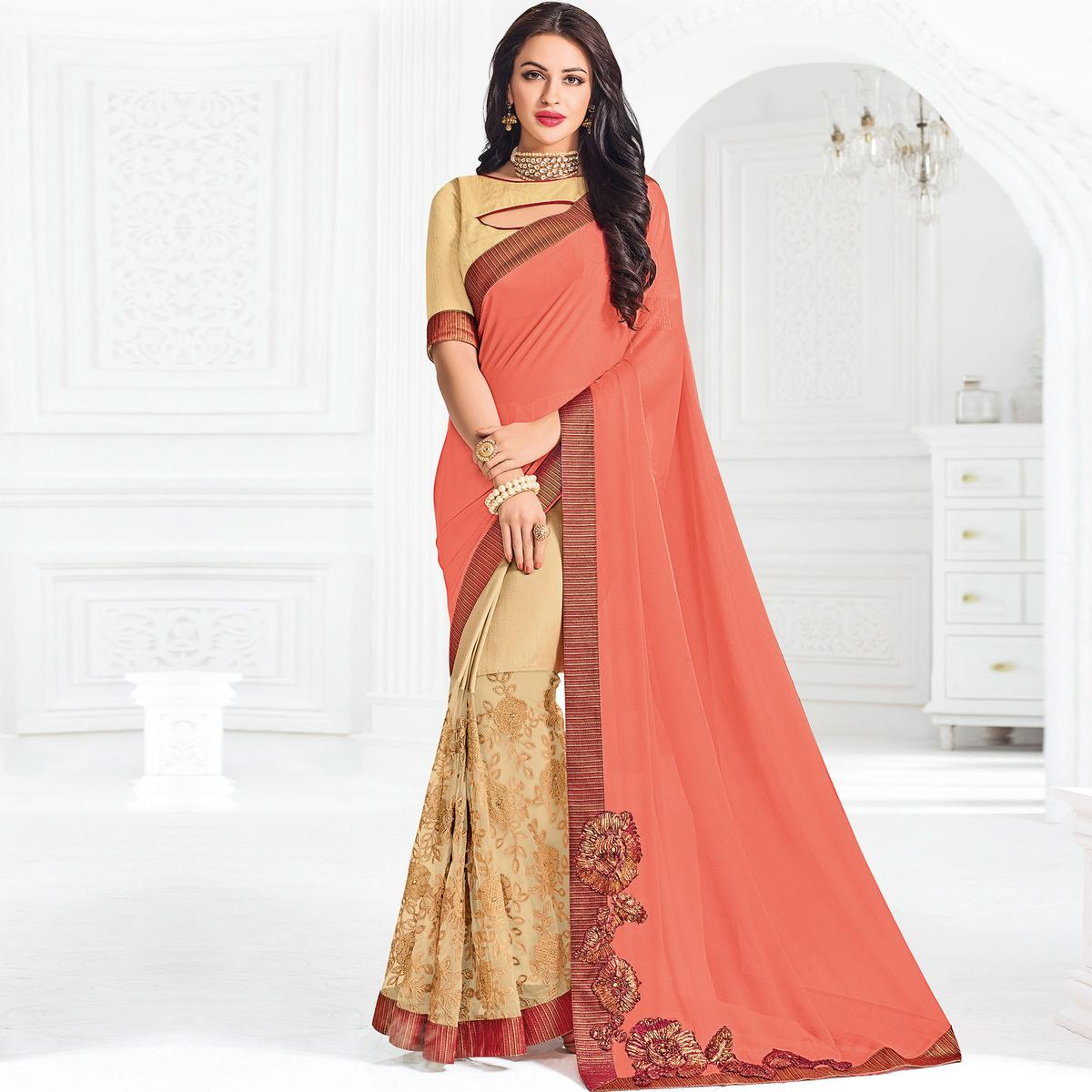 Orange And Beige Colored Designer Embroidered Moss Chiffon And Silk Saree