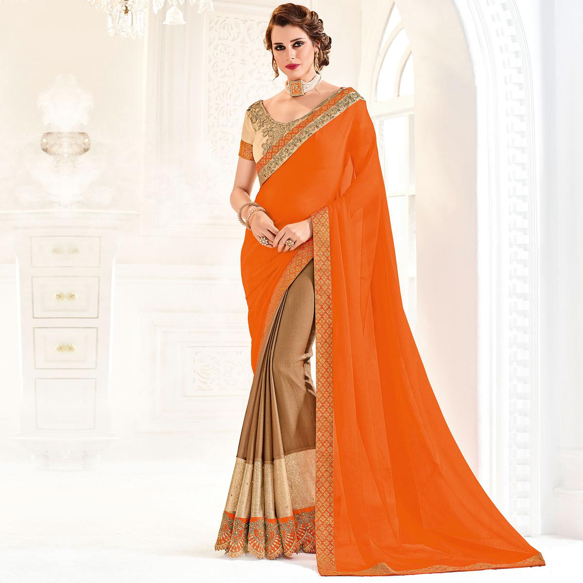 Orange And Brown Colored Designer Embroidered Moss Chiffon Saree