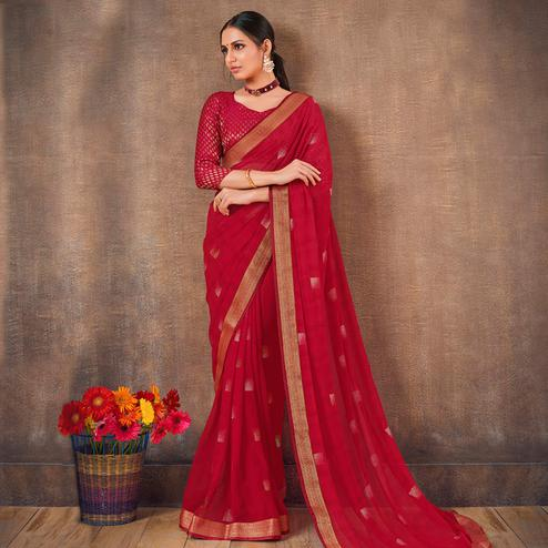 Attractive Red Colored Festive Wear Foil Printed Georgette Saree