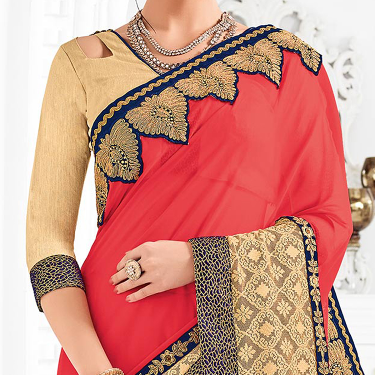 Pink Colored Designer Embroidered Georgette Saree