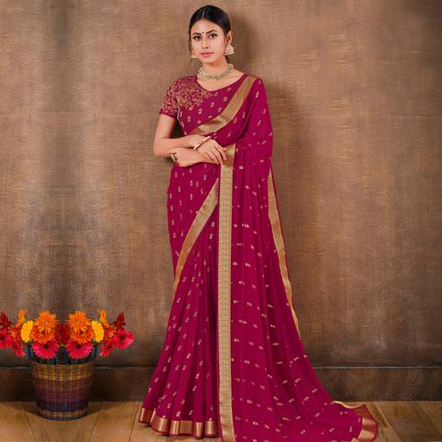 Blooming Magenta Pink Colored Festive Wear Foil Printed Georgette Saree