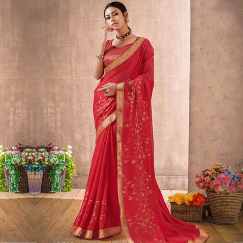 Engrossing Deep Pink Colored Festive Wear Foil Printed Georgette Saree