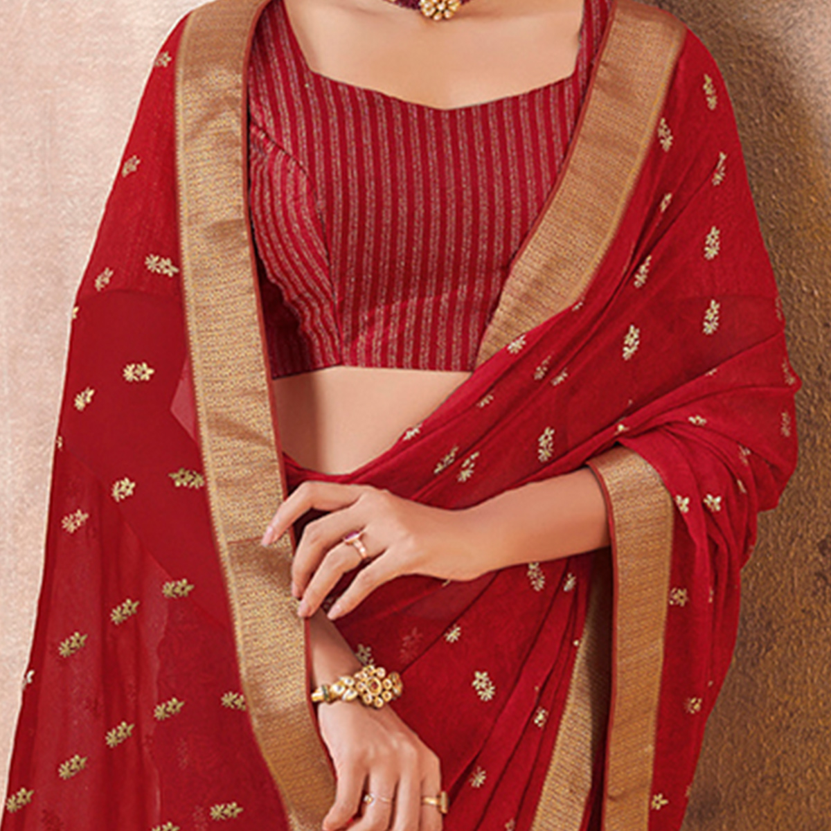 Captivating Red Colored Festive Wear Foil Printed Georgette Saree