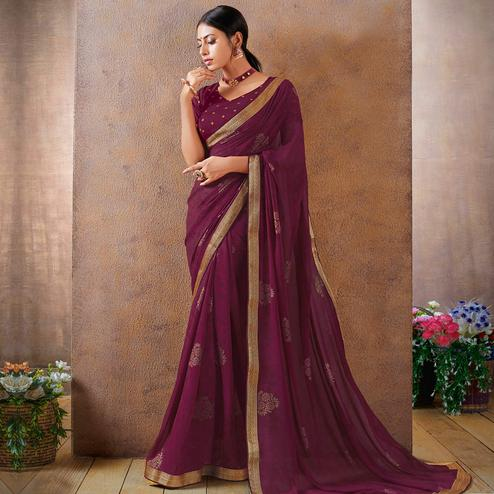 Eye-catching Purple Colored Festive Wear Foil Printed Georgette Saree