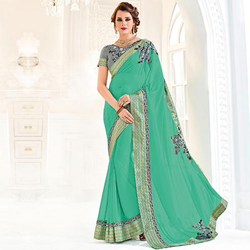Green Colored Designer Embroidered Georgette Saree
