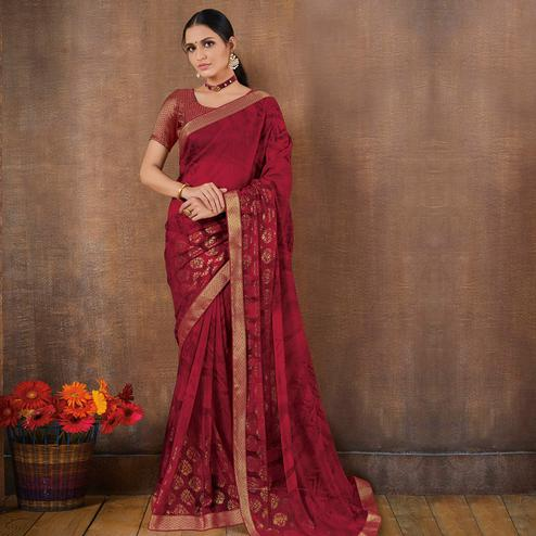 Amazing Magenta Pink Colored Festive Wear Foil Printed Georgette Saree