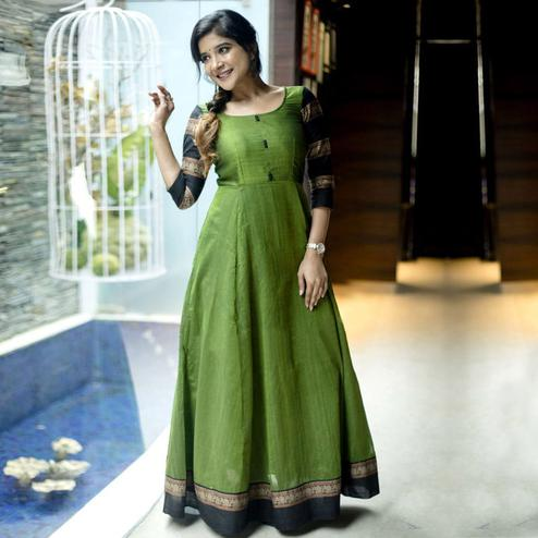 Gleaming Green Colored Party Wear Woven Pure Cotton Gown