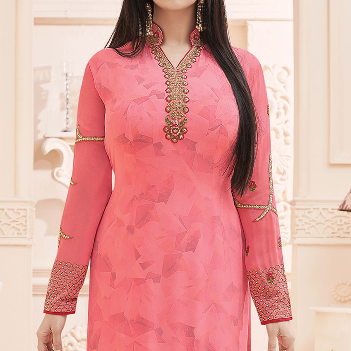 Pink Embroidered Work Straight Cut Suit