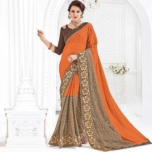 Orange And Brown Colored Designer Embroidered Net And Moss Chiffon Saree
