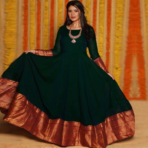 Refreshing Dark Green Colored Party Wear Woven Georgette Gown