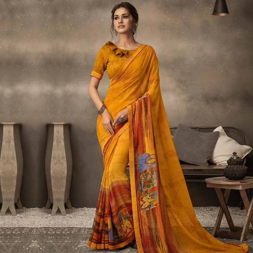 Indian Women Mustard Yellow Colored Casual Wear Printed Georgette Saree
