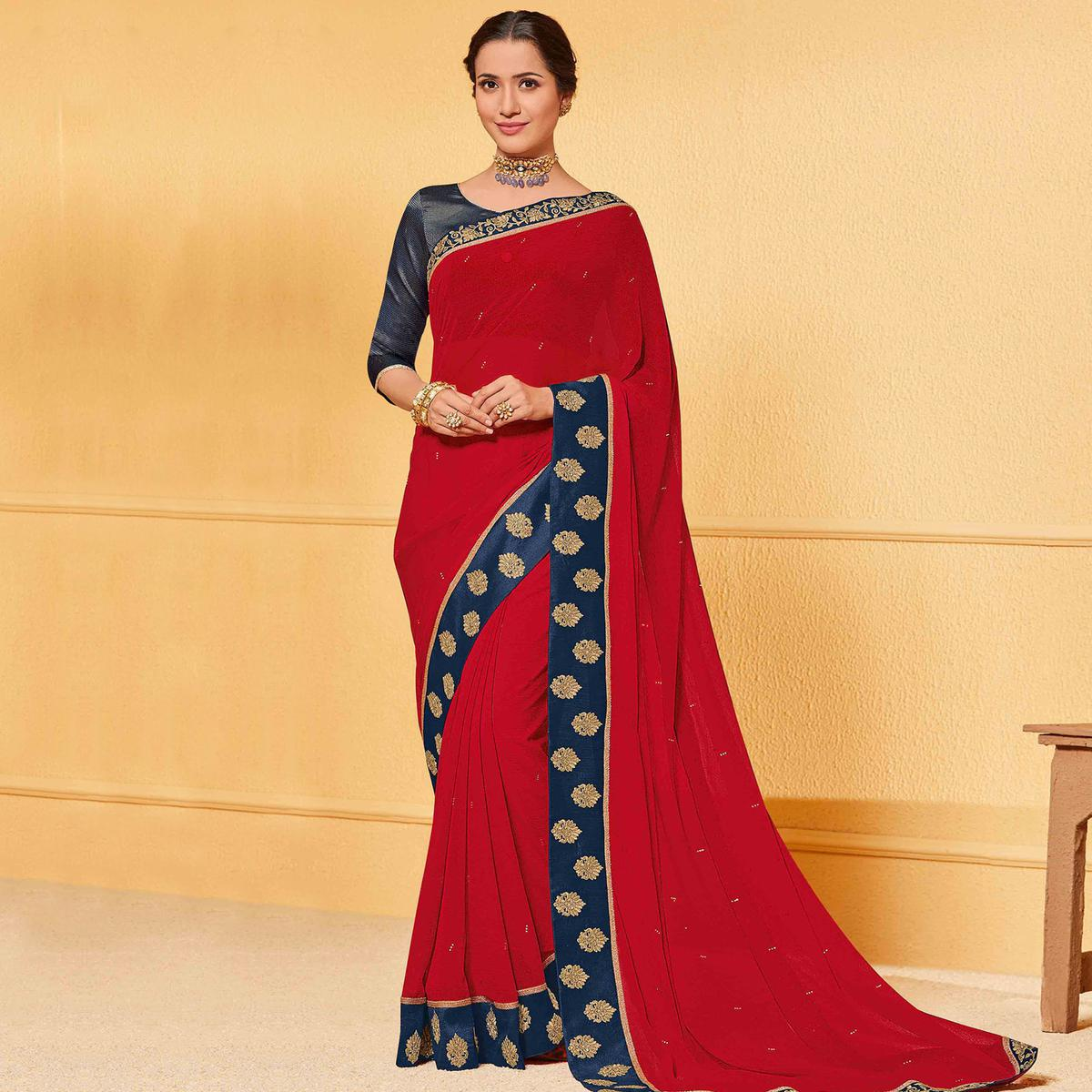 Indian Women Red Colored Party Wear Embroidered Chiffon Saree