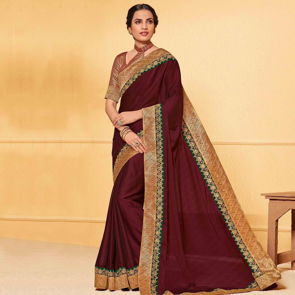 Indian Women Dark Brown Colored Party Wear Embroidered Chiffon Saree