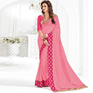 Pink Colored Designer Embroidered Marble Saree