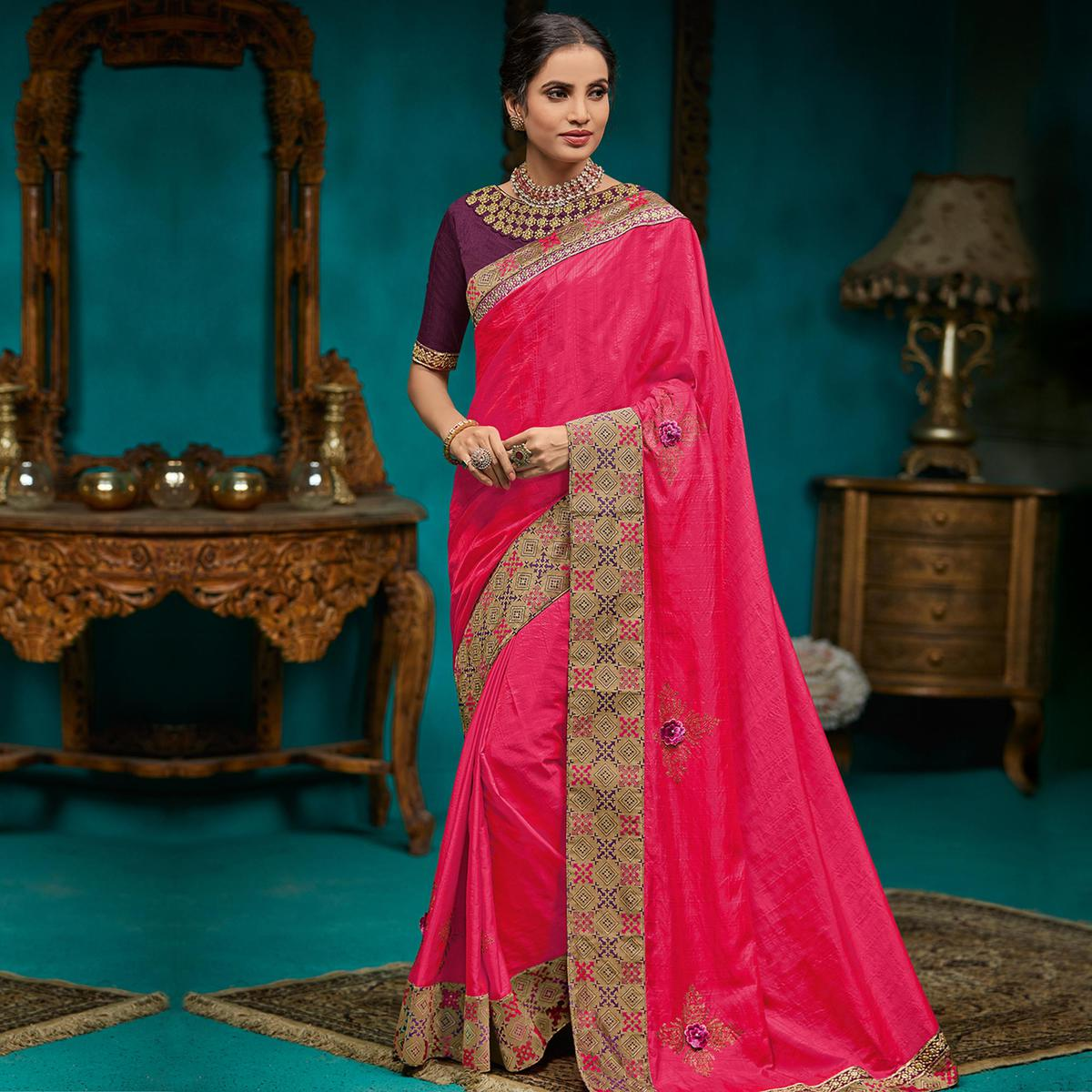 Indian Women Pink Colored Party Wear Embroidered Poly Silk Saree