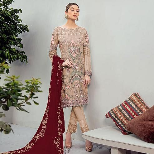 Adorable Beige Colored Partywear Embroidered Georgette Staright Suit