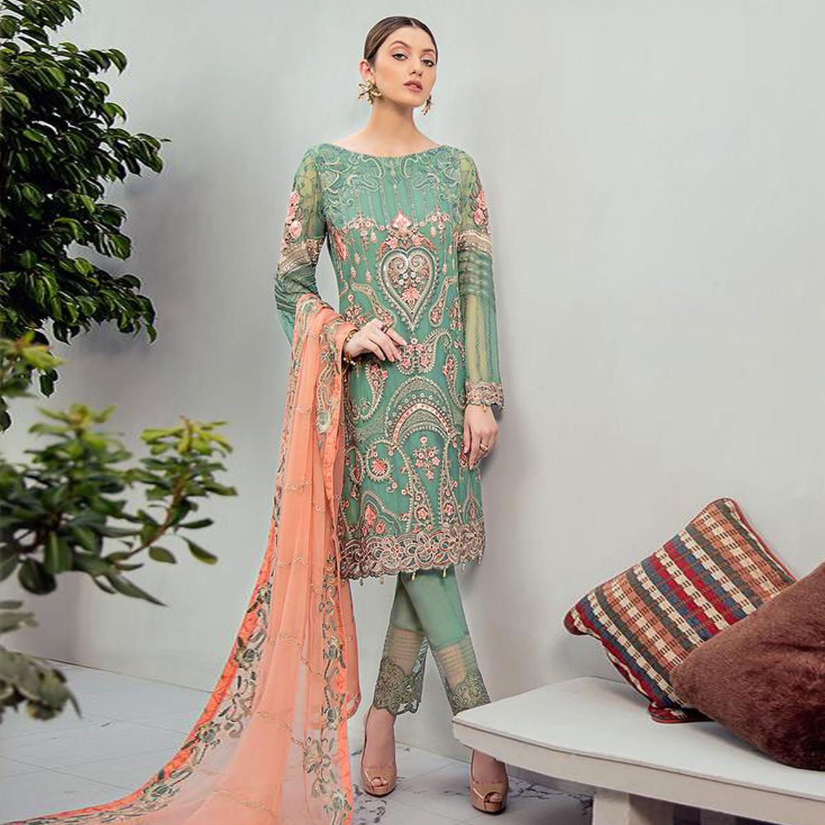 Glorious Green Colored Partywear Embroidered Georgette Staright Suit