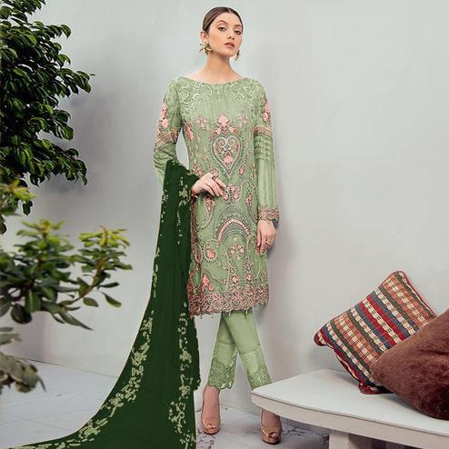 Attractive Green Colored Partywear Embroidered Georgette Staright Suit
