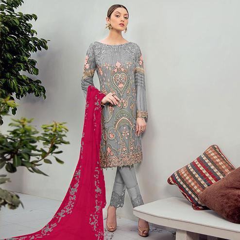Beautiful Grey Colored Partywear Embroidered Georgette Staright Suit