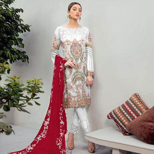Blooming Offwhite Colored Partywear Embroidered Georgette Staright Suit