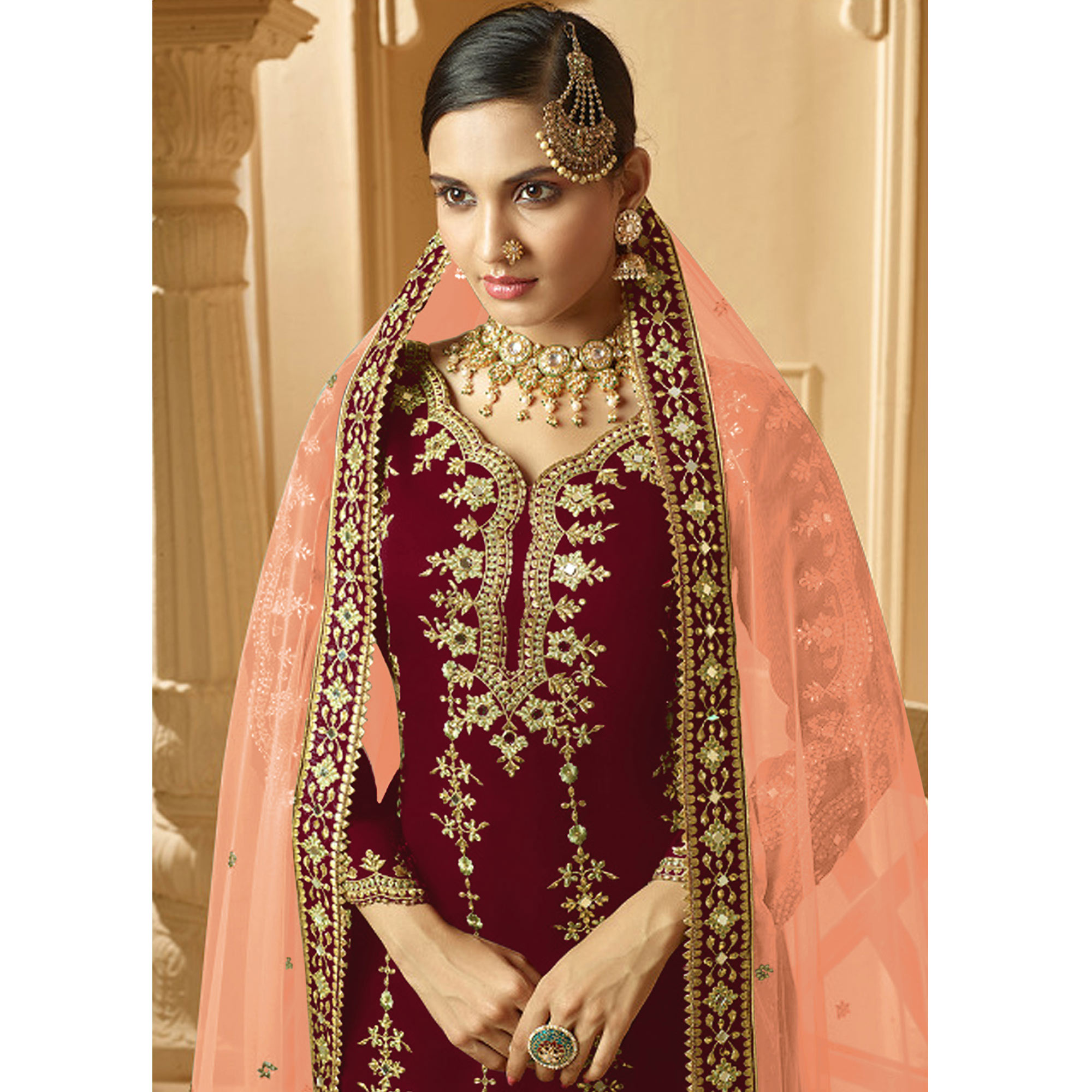 Eye-catching Maroon Colored Partywear Embroidered Faux Georgette Palazzo suit
