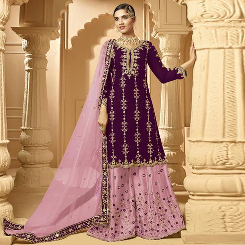 Gorgeous Violet Colored Partywear Embroidered Faux Georgette Palazzo suit