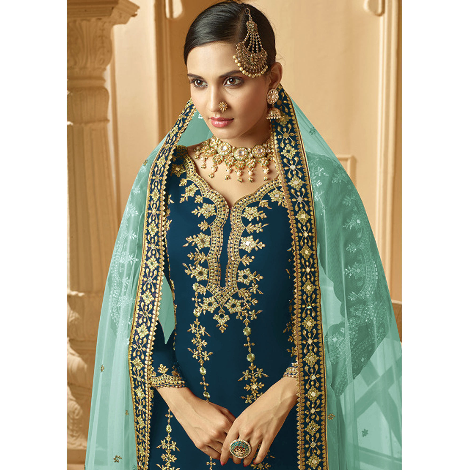 Blissful Aqua Blue Colored Partywear Embroidered Faux Georgette Palazzo suit