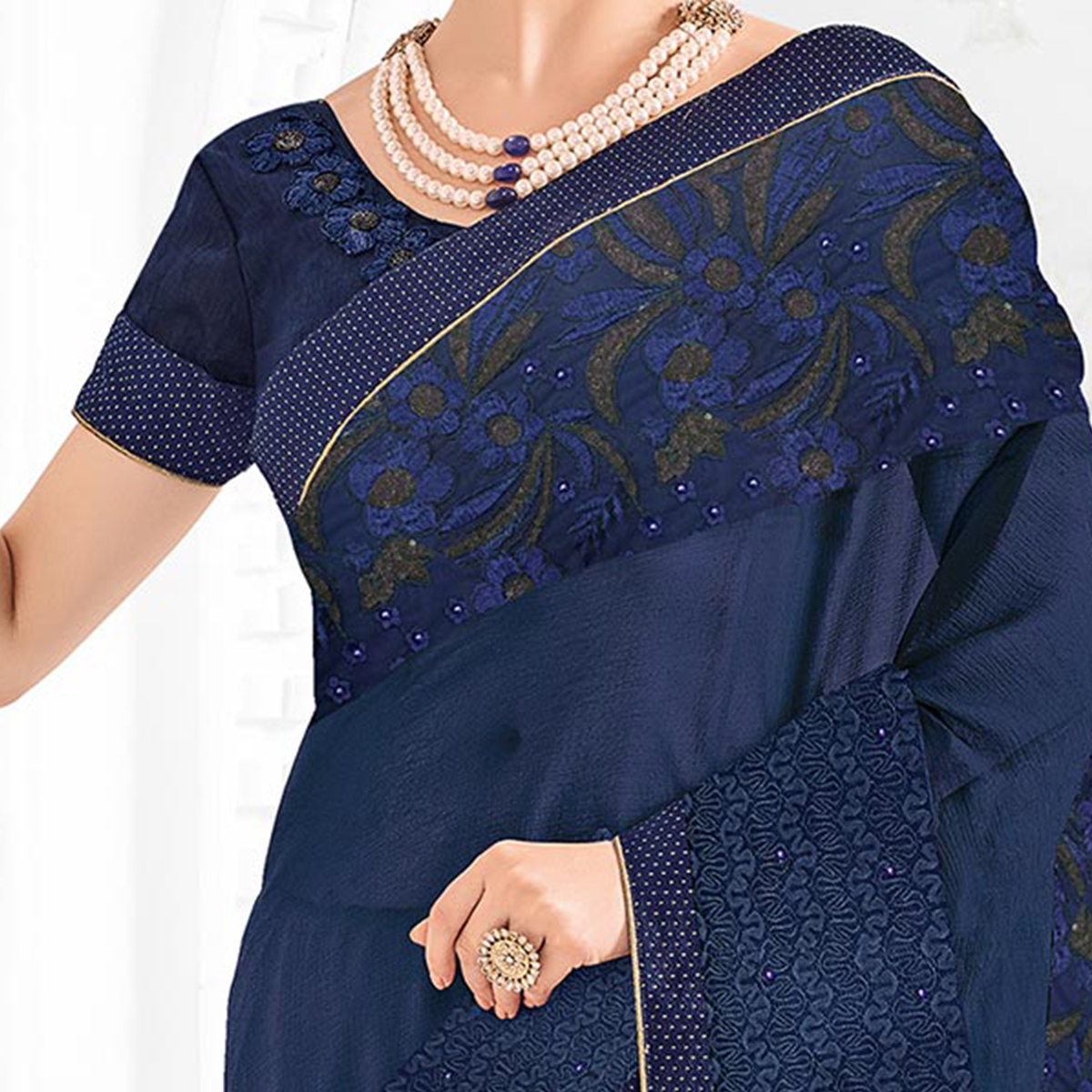 Violet Colored Designer Embroidered Marble Chiffon And Net Saree